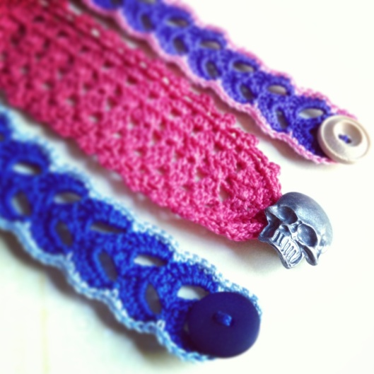 these bracelets were just a few of the pieces i've had commissioned this week. the buyer chose the color combinations.