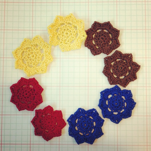 A garden of colorful lotus flowers. These are destined to be starched and made into dangle earrings.