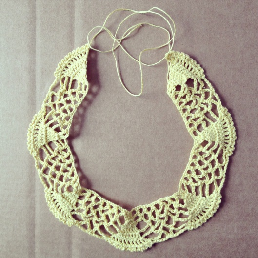 Cleopatra Collar ~ Made of hand dyed linen this collar is the softest shade of buttery yellow. An added jewelry clasp will serve as closure for this piece.